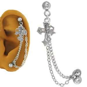 Ear Cartilage Piercing Jewelry Cross 16G: Jewelry