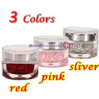 3pcs 20ml Metallic Glitter UV Builder Gel Nail Art Pink Silver Red