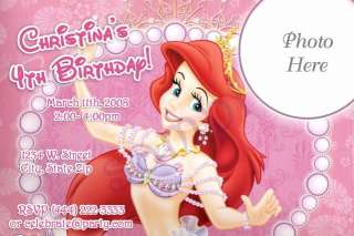 Disney Princess Ariel Birthday Party Invitations