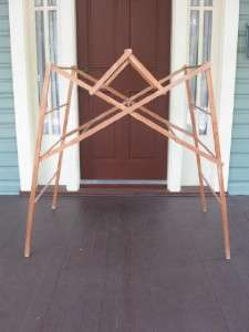 Antique All Wood Wooden Side Pull Out Laundry Drying Rack #2