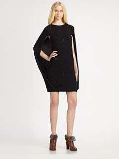 Brunello Cucinelli   Sequined Cashmere Cape Dress
