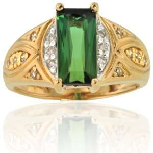 Michael Valitutti 14K Yellow Gold Green Tourmaline & Diamond Ring