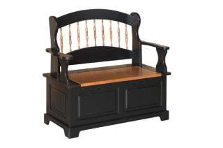 Amish Deacons Bench Entryway Storage Hall Black Mudroom