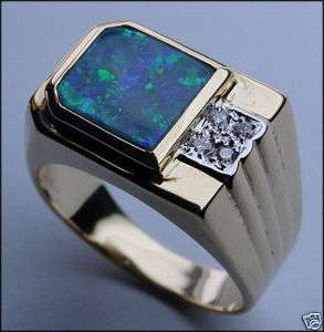 Mens Boulder Opal Ring with Diamonds   $1,090