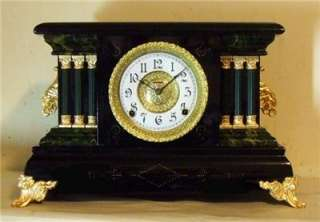 Old Antique Ingraham Black Mantel Shelf Clock 1912 NR