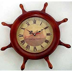 Wooden Ships Wheel Clock 17 Sailing Motif Sailboats Home & Kitchen