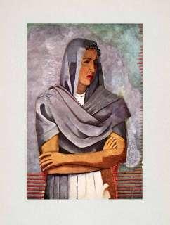 1947 Tipped In Print Rufino Tamayo Portrait Olga Flores Rivas Lavender