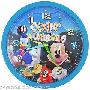NEW Disney Mickey Mouse Counting Kids Wall Clock 10