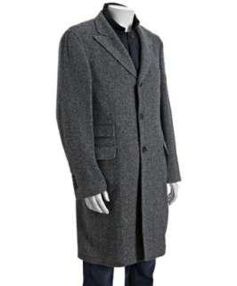 Brunello Cucinelli grey herringbone cashmere detachable vest coat