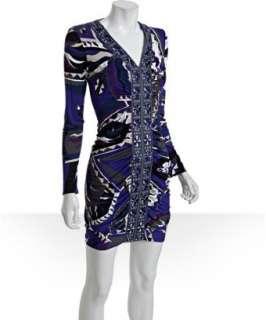 Emilio Pucci blue geometric jersey shirred v neck dress   up
