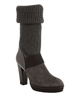 Hogan grey suede knit sweater boots