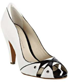 Modern Vintage white leather Zorba peep toe pumps  BLUEFLY up to 70