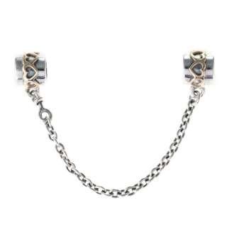 Genuine Pandora Sterling Silver & 14k Gold Safety Chain Charm 790307