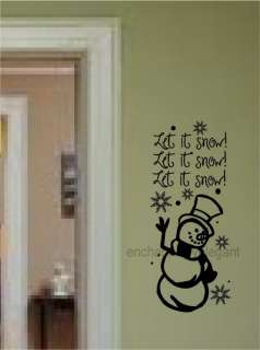 Let It Snow Snowman Winter Christmas Vinyl Decal Wall Words Stickers
