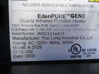 EdenPURE GEN3 Quartz Infrared Portable Space Heater