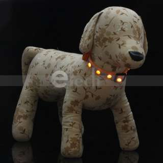 LED Light Safety Collar Nylon for Dog Cat Pet 3 Size&6 Color