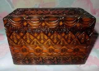 Vintage cigarette case box carved wood 2 pack holder wood wooden box