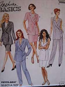 VTG 90s Jacket/Vest~Skirt~Pants SEWING PATTERN 10 12 14