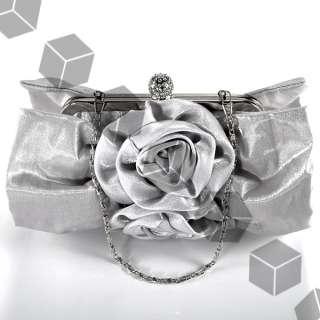 gray silver satin Diamante Crystal FLOWERS BRIDAL EVENING CLUTCH BAG
