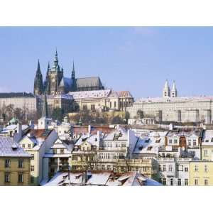 com Prague Castle and Houses of Mala Strana Suburb in Winter, Prague