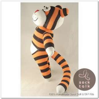 Striped Paunchy Sock Monkey Tiger Stuffed Animals Doll Baby Toy