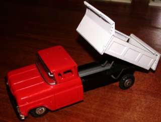 Vintage 1960s TIN FRICTION powered toy DUMP TRUCK Japan FORD CHEVY