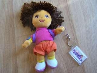 Dora the Explorer TY Beanie Baby Doll w Key Bag Clip NW