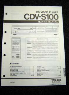 Original Yamaha CDV S100 Service Manual